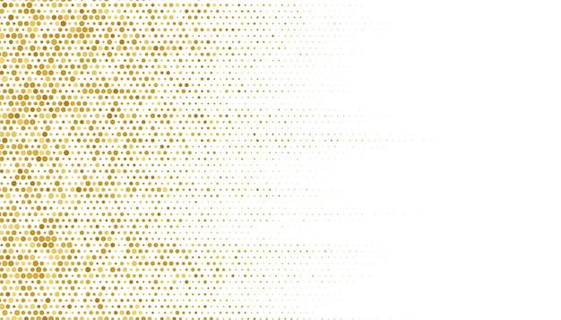 Textura de patrón de semitono dorado sobre fondo blanco