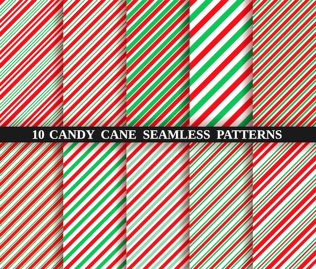 Textura de rayas de bastón de caramelo. conjunto de diez patrones sin fisuras de navidad.