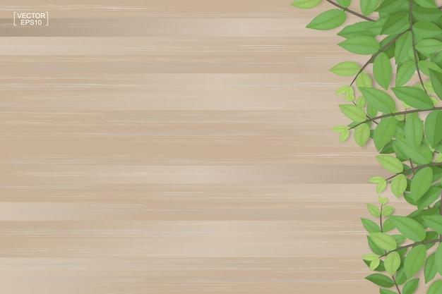 Textura de tablones de madera y hojas verdes. realista