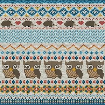 Textura de tejido con búhos