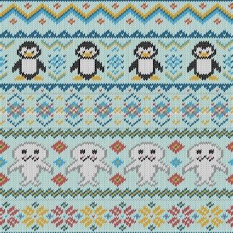 Textura de tejido con pingüinos