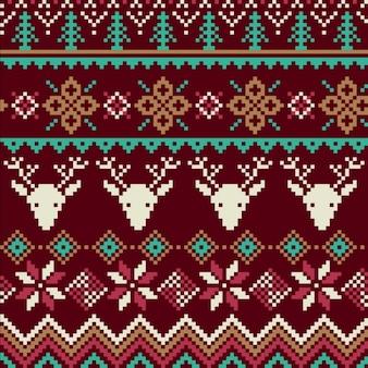 Textura de tejido con renos y copos de nieve