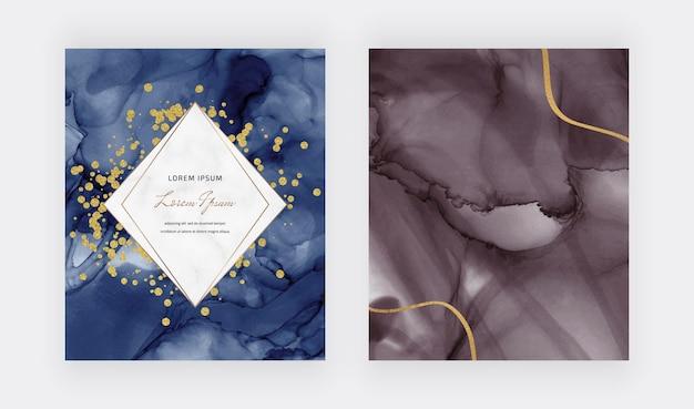 Textura de tinta de alcohol con confeti dorado, líneas y marco de mármol