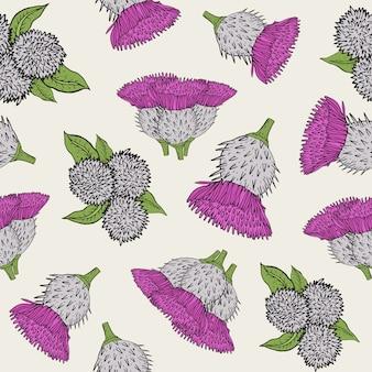 Textura transparente de bardana con brotes dibujados a mano. patrón de ilustración colorida