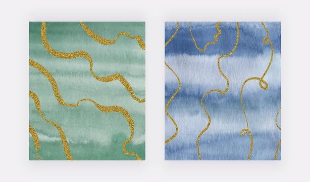 Textura de trazo de pincel de acuarela verde y azul con líneas a mano alzada de brillo dorado