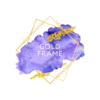 Textura de trazos dibujados a mano acuarela con marco dorado