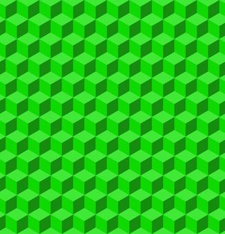 Textura de volumen hecha de cubos verdes. patrón geométrico 3d ilustración vectorial fondo geométrico abstracto con cubos.