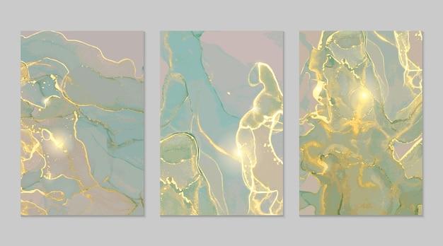 Texturas abstractas de mármol dorado gris menta en técnica de tinta de alcohol