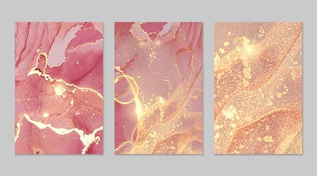 Texturas abstractas de mármol magenta y oro