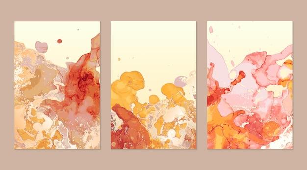 Texturas abstractas de mármol rojo y dorado.