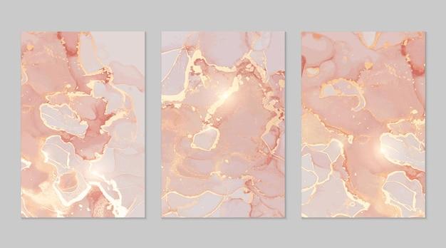 Texturas abstractas de mármol rosa y dorado