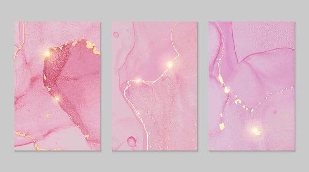 Texturas abstractas de mármol rosa y dorado.