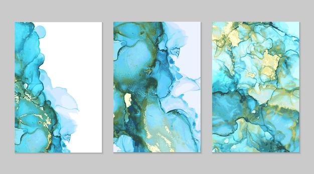 Texturas abstractas de mármol turquesa y dorado