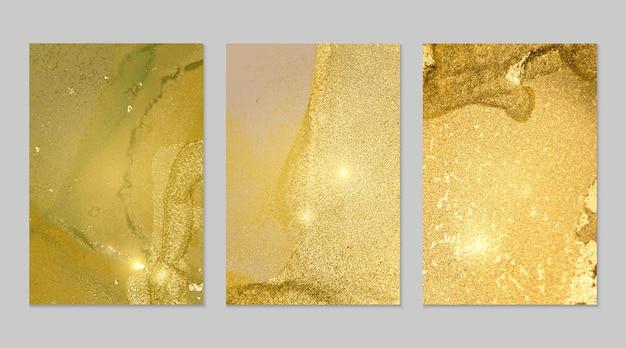 Texturas abstractas de mármol verde amarillo y dorado