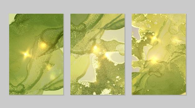 Texturas abstractas de mármol verde brillante y dorado