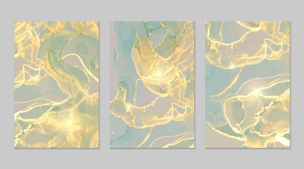 Texturas abstractas de mármol verde y dorado
