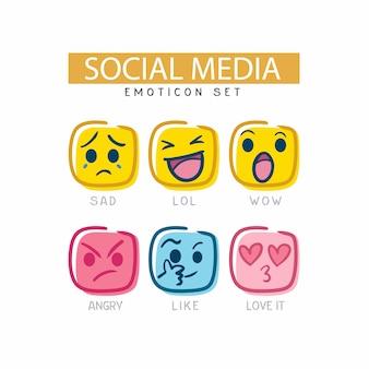 The cute social media emoticon set