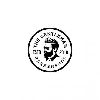 The gentle man barber shop emblem logo