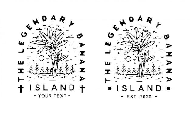 The legendary banana island monoline art design