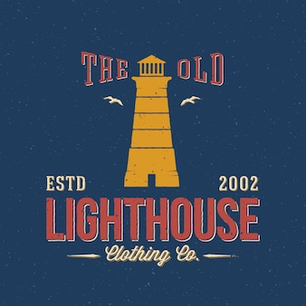The old lighthouse clothing co. etiqueta náutica abstracta retro o plantilla de logotipo