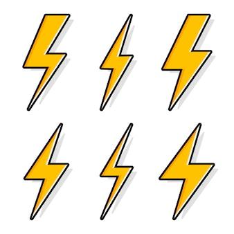 Thunder and bolt lighting flash icons set.