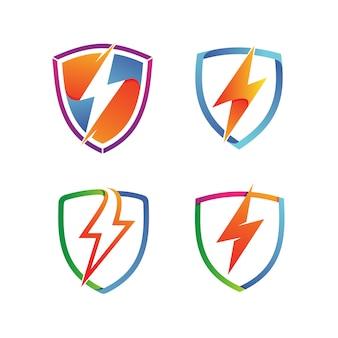 Thunder shield set logo vector