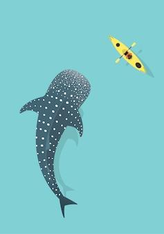 Tiburón ballena y kayak aislados sobre fondo azul del mar