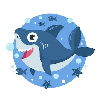Tiburón bebé en concepto de estilo de dibujos animados