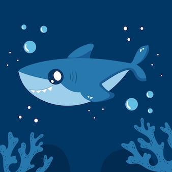 Tiburón bebé de diseño plano en estilo de dibujos animados