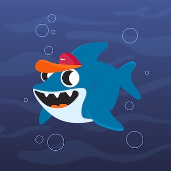 Tiburón bebé en tema de estilo de dibujos animados