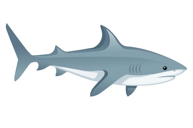 Tiburón con boca cerrada ápice gigante depredador dibujos animados diseño animal ilustración vectorial plana