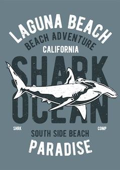 Tiburón, cartel de ilustración vintage.