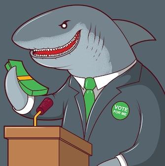 Tiburón corriendo para la ilustración del presidente. concepto de diseño de corrupción de dinero