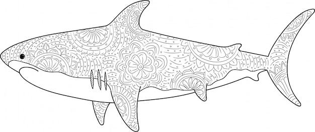 Tiburón dibujado en estilo zentangle
