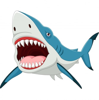 Tiburón de dibujos animados con la boca abierta