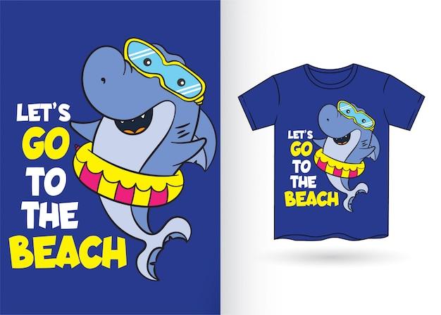 Tiburon de dibujos animados para camiseta