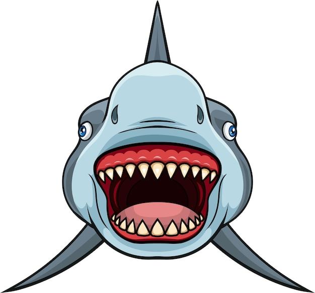 Tiburón de dibujos animados con mandíbulas abiertas