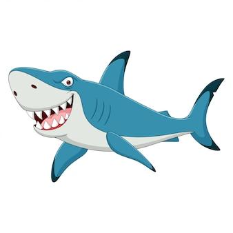 Tiburón divertido de dibujos animados aislado sobre fondo blanco