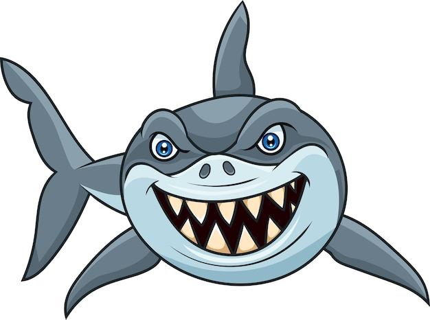 Tiburón enojado de dibujos animados aislado sobre fondo blanco