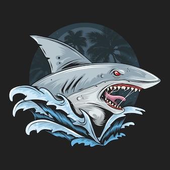 Tiburon facial cara profunda mar azul ilustraciones