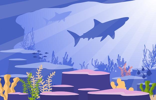 Tiburón pez animales marinos arrecife coral bajo el agua mar océano ilustración