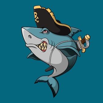 Tiburón pirata con espada