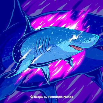 Tiburón salvaje abstracto colorido ilustrado