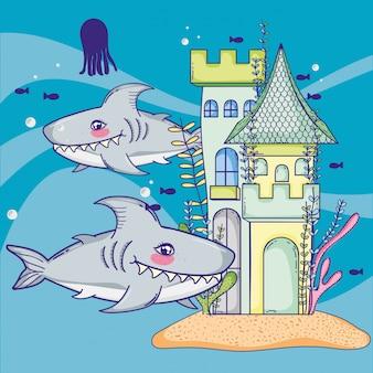 Tiburones con animales marinos y estilo castillo.