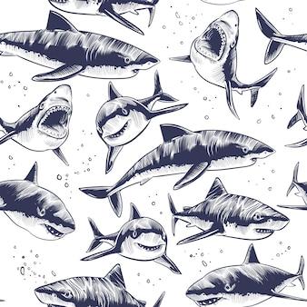 Tiburones sin patrón. dibujado a mano bajo el agua peces de mar fondo náutico japonés