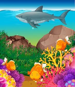 Tiburones y peces nadando en el mar.