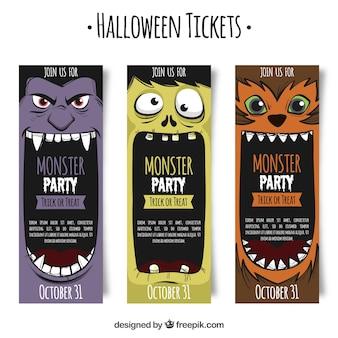 Tickets de halloween con monstruos