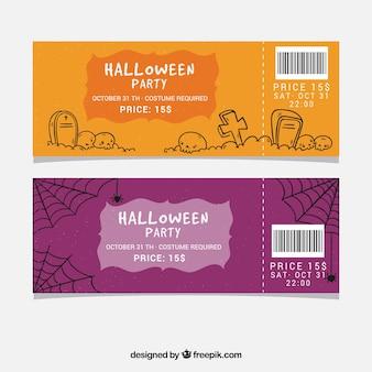 Tickets de halloween con estilo de dibujo a mano