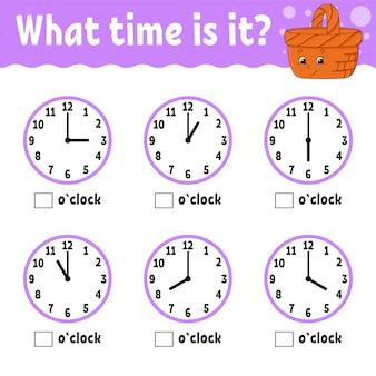 Tiempo de aprendizaje en el reloj. hoja de trabajo de actividades educativas para niños y niños pequeños.