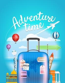 Tiempo de aventura. ilustración de viaje de vector con el bolso